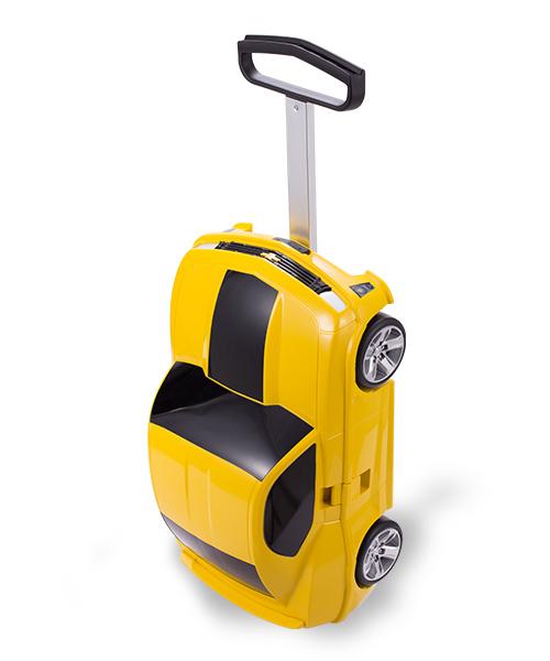 Kinderkoffer Rennauto - gelb